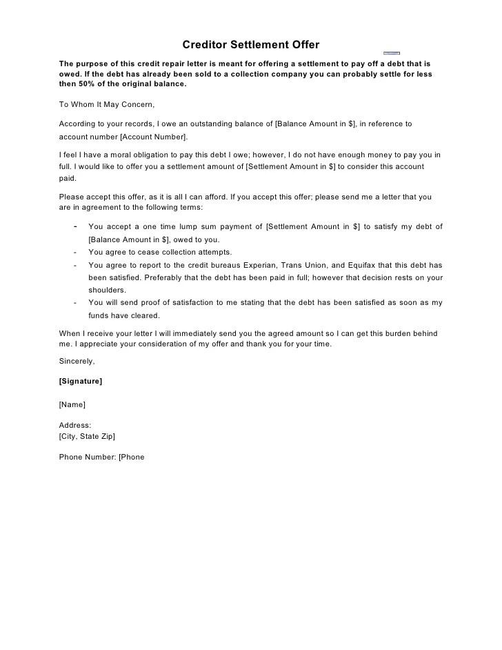 Judgment Settlement Letter Debtorboards Sample Letter Creditor Settlement Offer