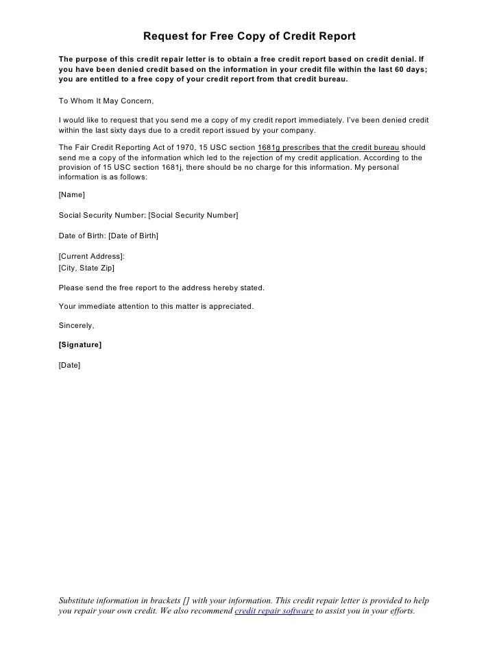 sample letter of credit rejection copy of credit report request letter