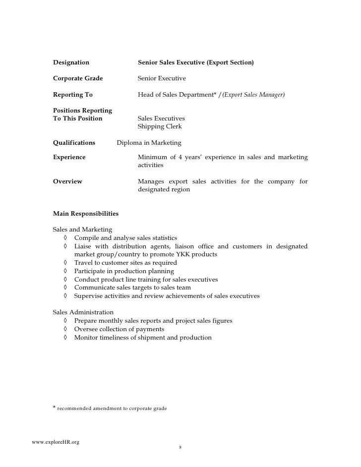 Sales Executive Job Description Sample Of Job Descriptions A