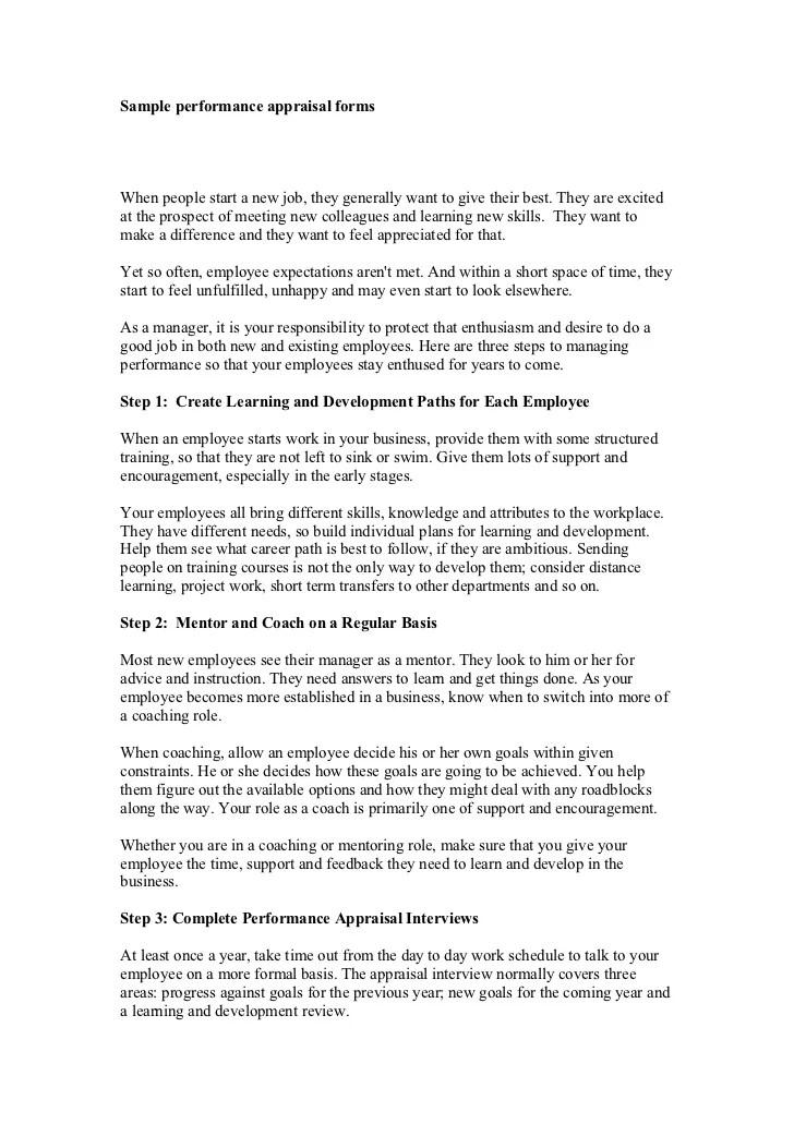 employee performance appraisal sample answers - Towerssconstruction