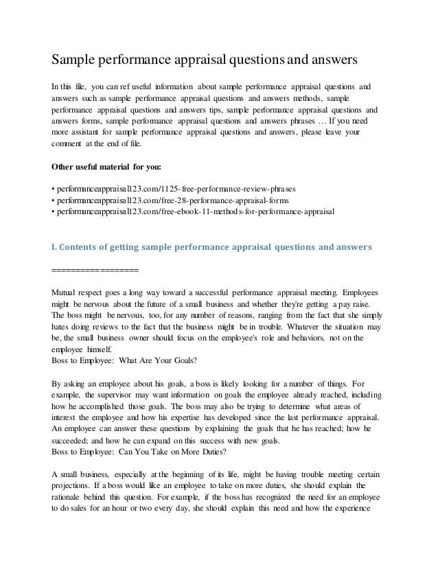 employee performance appraisal sample answers - Yokkubkireklamowe