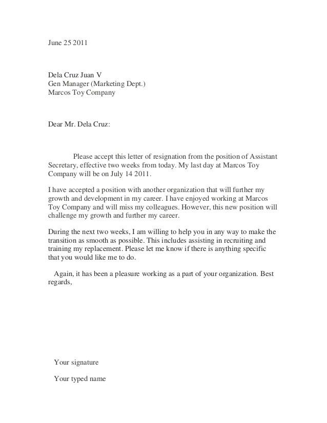 sample of resignation letter - Josemulinohouse - example of resignation letters