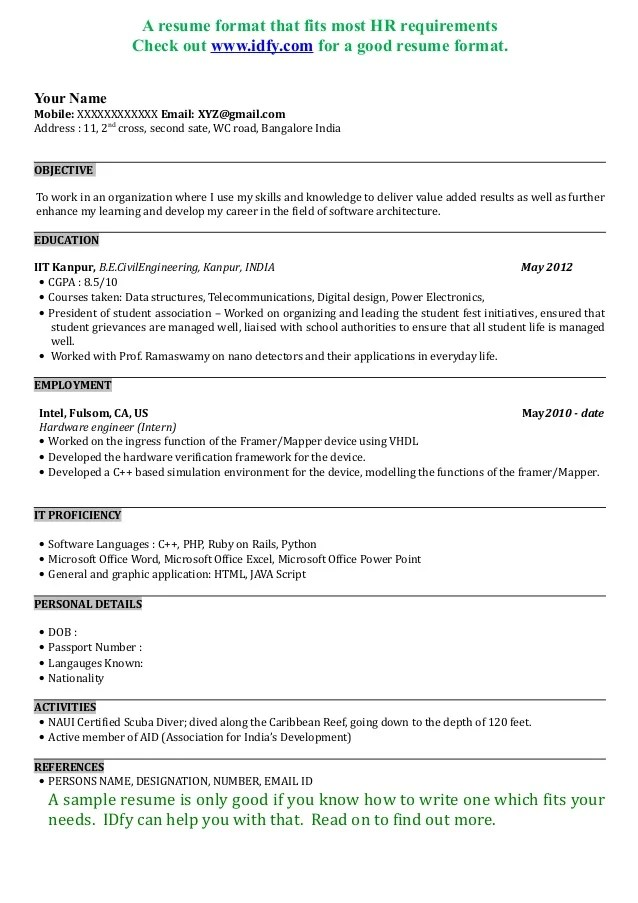 Job Resume Format Resume Format - 17+ Free Word, Pdf, Documents