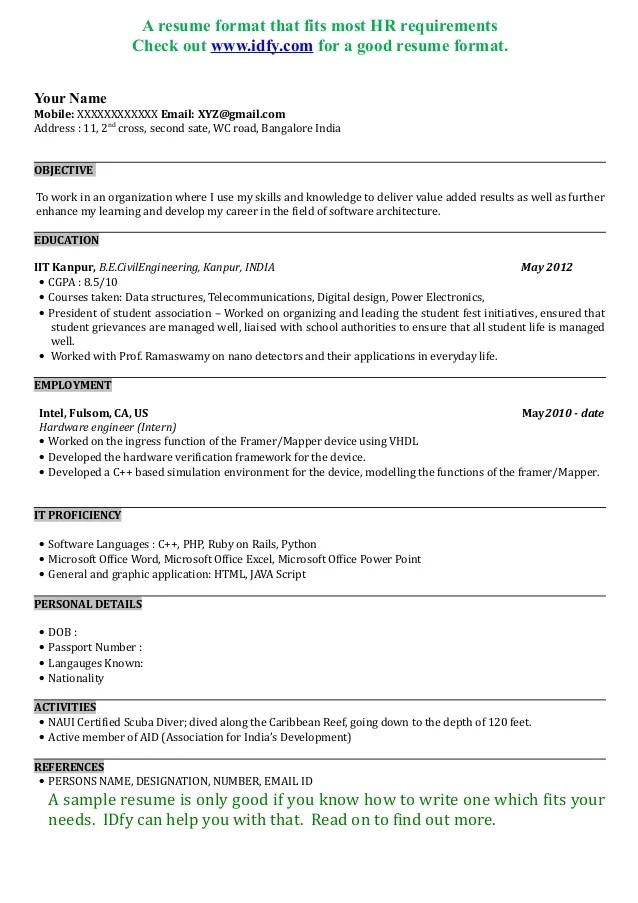 resume courses taken template