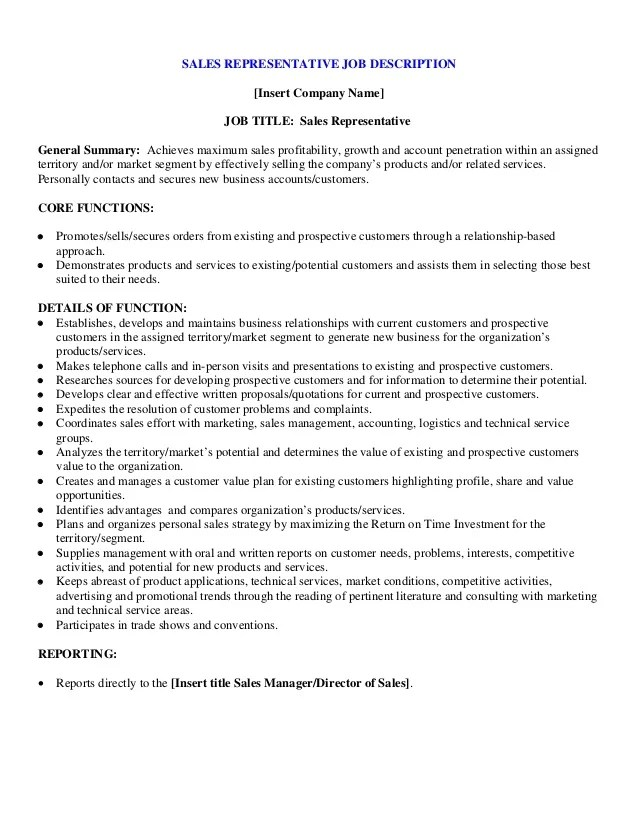 Cover Letter Sample Sales Representative Acesta Jobinfo Sample Sales Representative Job Description