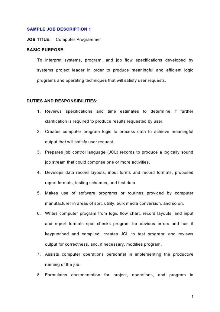 Amazing Computer Programmer Job Description Vignette - Best Resume - programmer job description
