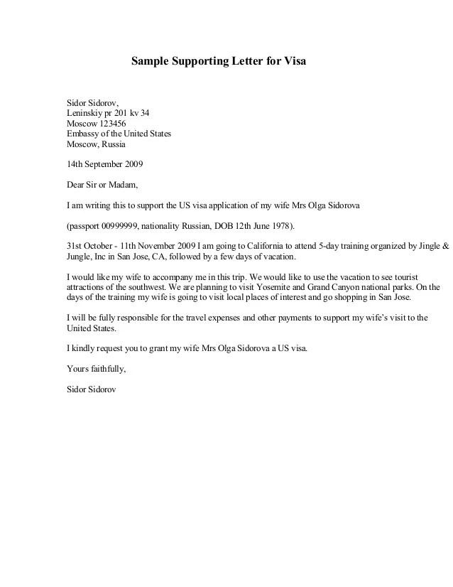Schengen Visa Sample Cover Letter Kristine Camins Sample Supporting Letter For Visasidor Sidorovleninskiy