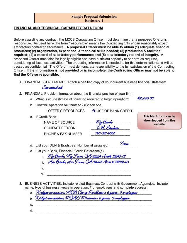 Building Construction Business Plan Sample Company Sample Unsolicited Proposal Submission