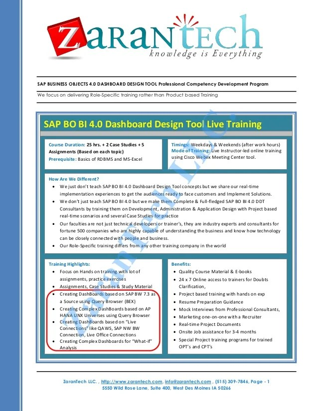 sap business objects 40 resume sample