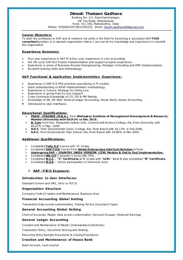 junior sap consultant resume - 28 images - sap mm support consultant