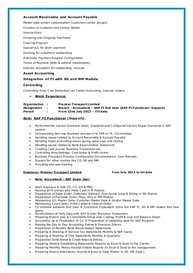 sap sd end user resume sample