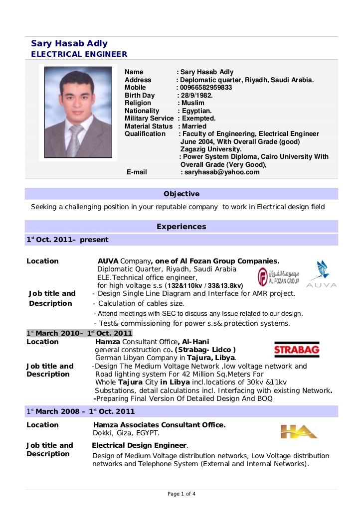 International Resume Format For Engineers