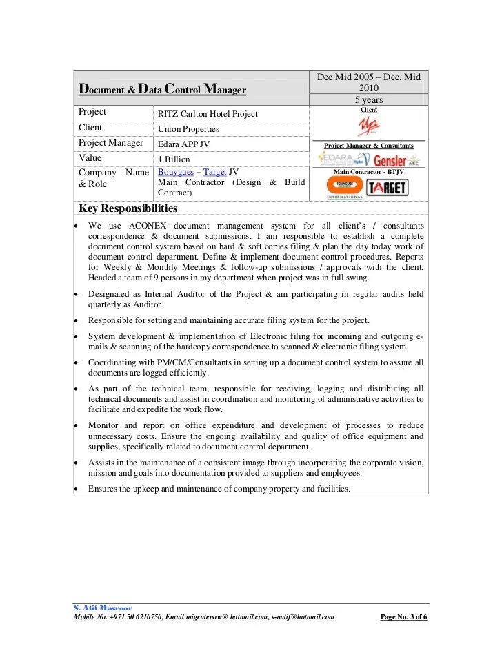 document control specialist job description - Geccetackletarts - document control assistant sample resume