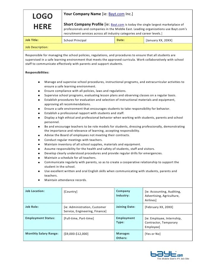 Sample Job Description Template With Detailed Requirements Job – Job Duty Template