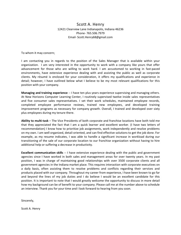 Cover Letter Quick Learner Student Cover Letter Example Sample Scott A Henry Cover Letter 2010 With Resume And Letters Of