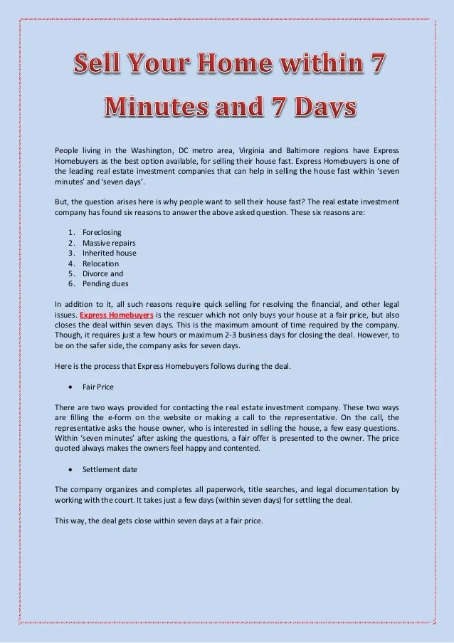 Sell Your Home within 7 Minutes and 7 Days