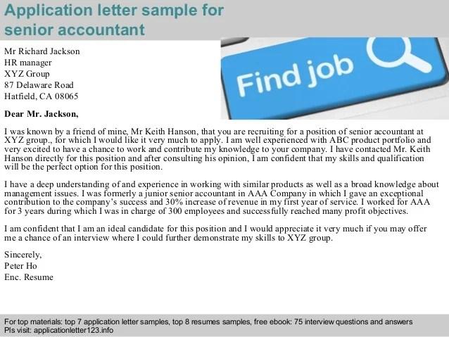 senior accountant cover letter sample - Josemulinohouse - accountant cover letter sample