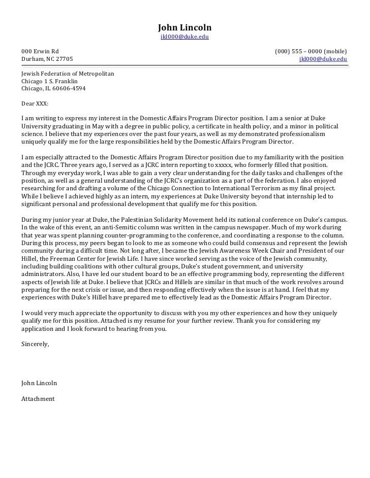 Senior Cover Letter Non Profit
