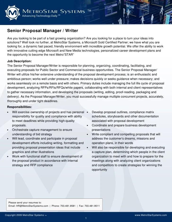 proposal manager resumes - Bire1andwap - bid manager sample resume