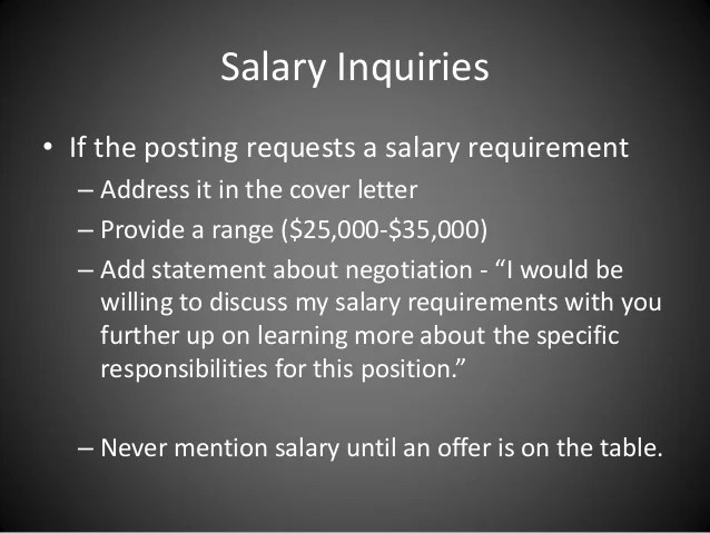 how to mention salary requirements in cover letter