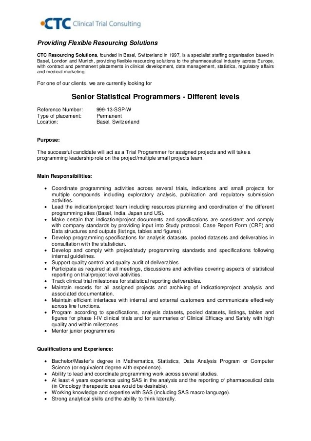 Statistical Programmer Sample Resume Sas Programmer Developer Free