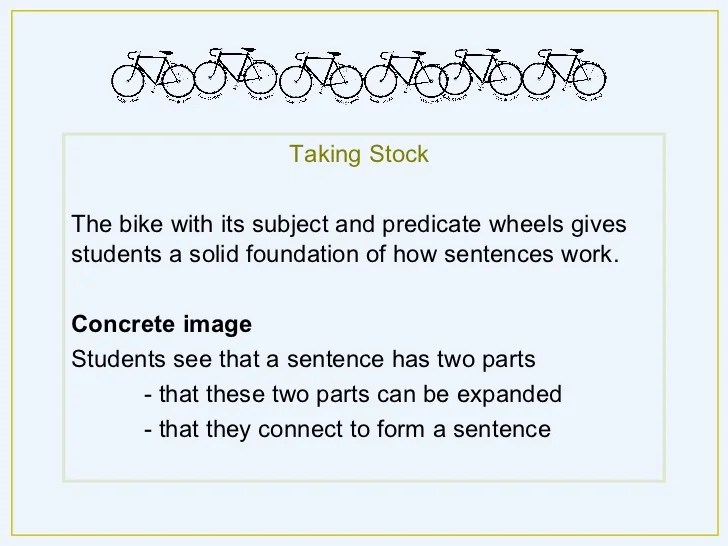 Sentence Structure Using A Bike Metaphor