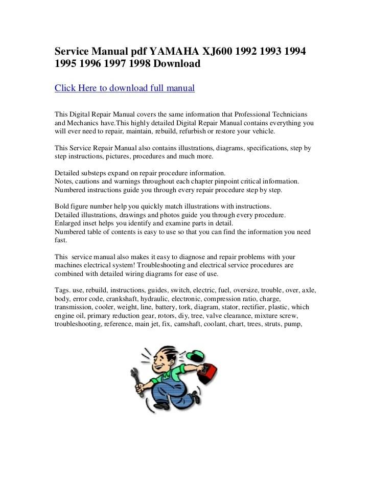 yamaha xj600 1990 repair service manual