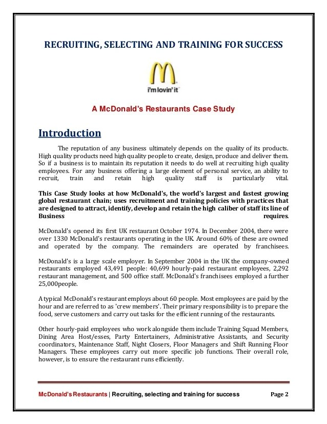 Business Case Study List Organised By Company For Business Service Marketing Mcdonalds Success Story Case Study