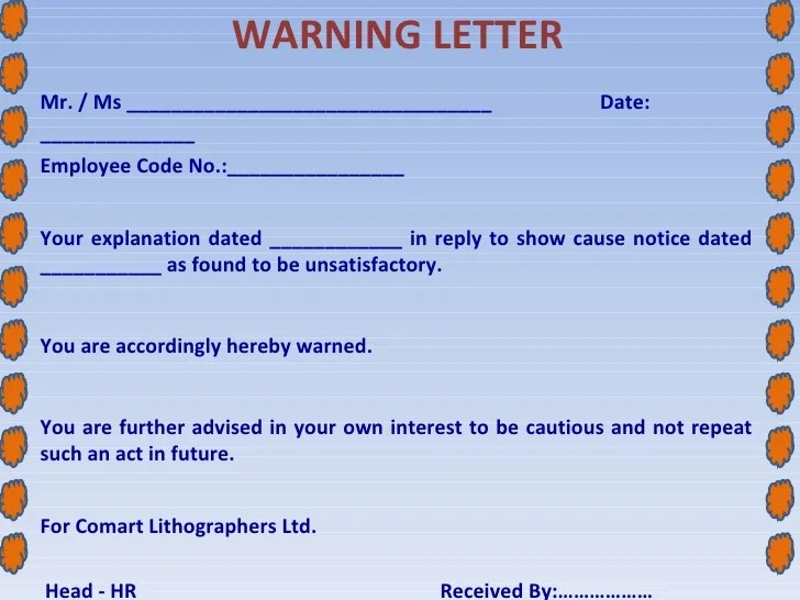absent without notice warning letter - Pinarkubkireklamowe