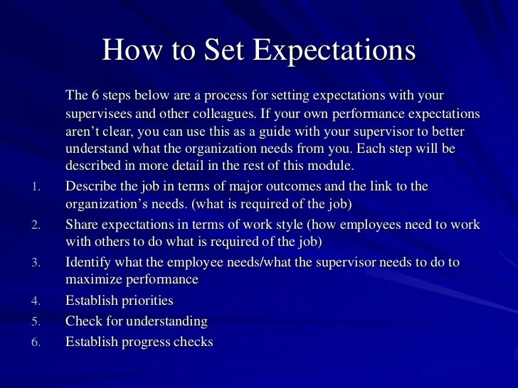 Sample Employee Expectations | Professional resumes sample online