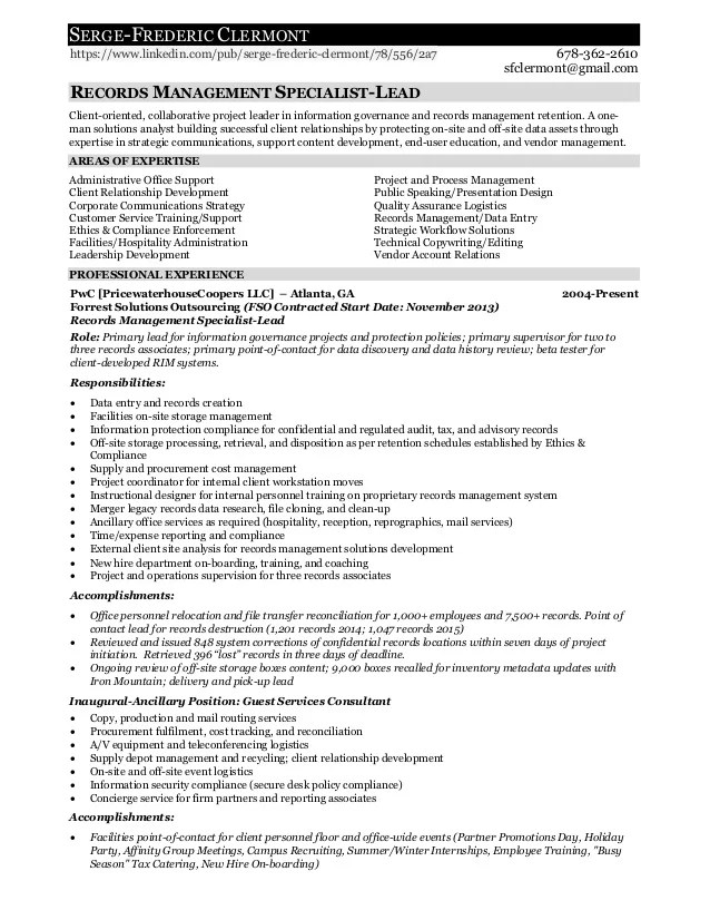 records management resume - Alannoscrapleftbehind - Records Management Resume