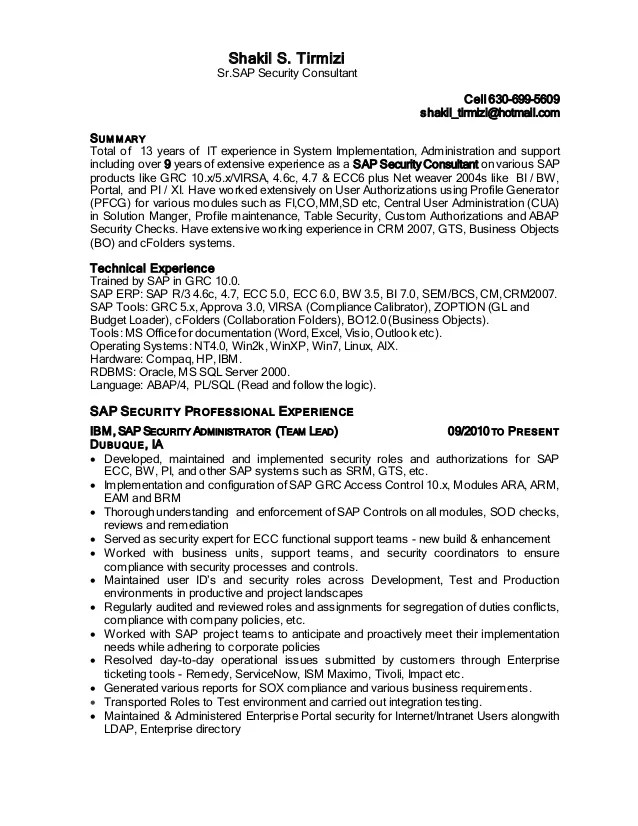 sap security sample resume