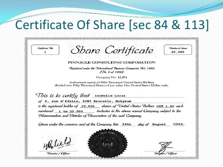 Shares Certificate - Maggilocustdesign
