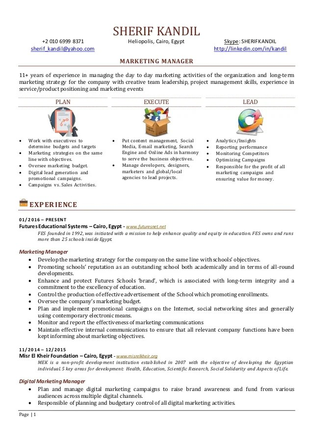 digital marketing manager cv kickresume this sample functional