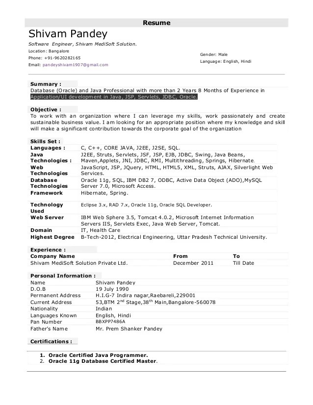 Resume Format For 1 Year Experienced Java Developer Professional