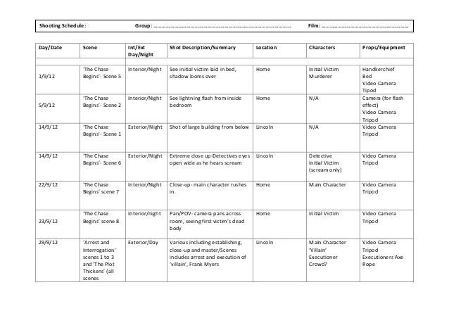shooting schedule template - Towerssconstruction