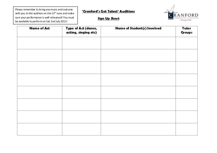 audition sign up sheet - Apmayssconstruction
