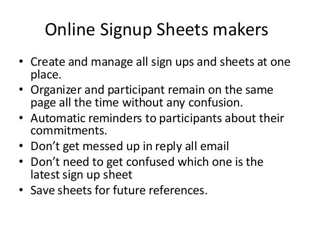 create sign up sheet - Nisatasj-plus