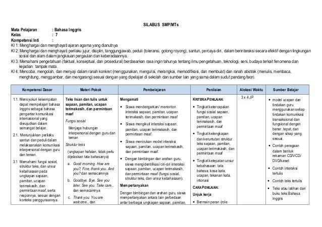 Silabus Bahasa Indonesia Smp 2013 Download Rpp Bahasa Indonesia Sma Kurikulum 2013 Revisi Silabus Smpmtsmata Pelajaran Bahasa Inggriskelas 7kompetensi Inti