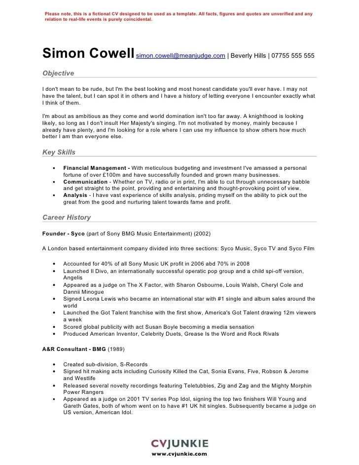 Free Cv Template Uk 2011 Classic Cv Template Careers Advice Jobsacuk Simon Cowell Cv Template