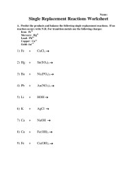 Printables. Single Replacement Reaction Worksheet ...