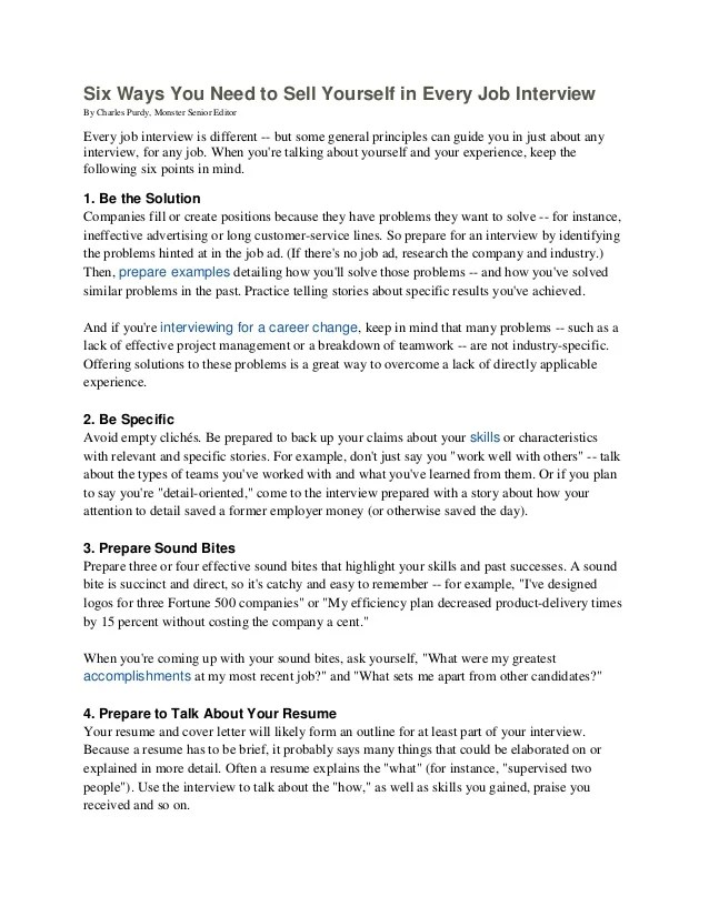 how to sell yourself in a resume examples