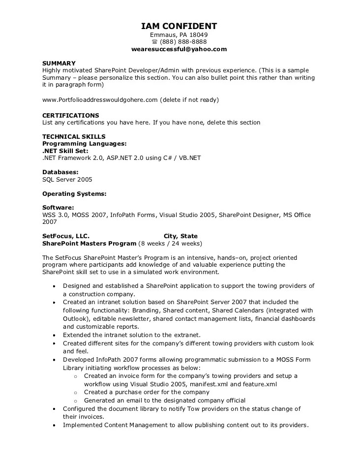 sharepoint developer resume sample radiovkm