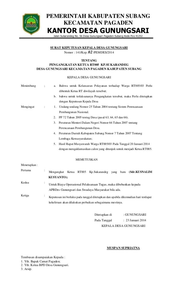 Contoh Surat Undangan Pemilihan Rw