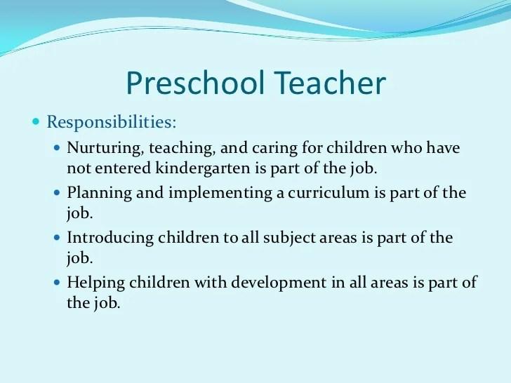 Resume Format Kindergarten Teacher Preschool Of Job Description For