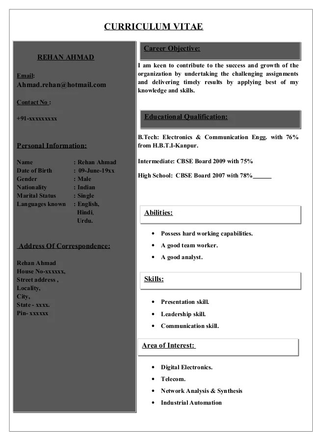 Resume format for mca pursuing