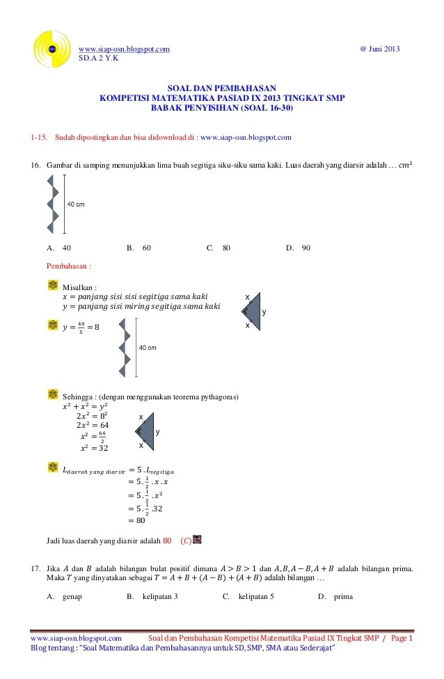 Contoh Soal Matematika Sma Prediksi Un 2016 Contoh Soal