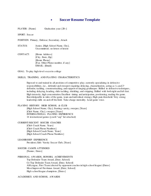 Sample Soccer Resume For College Coaches | Sample Employment