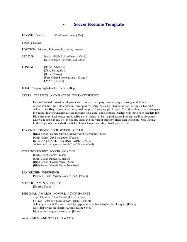 high school football player resume template