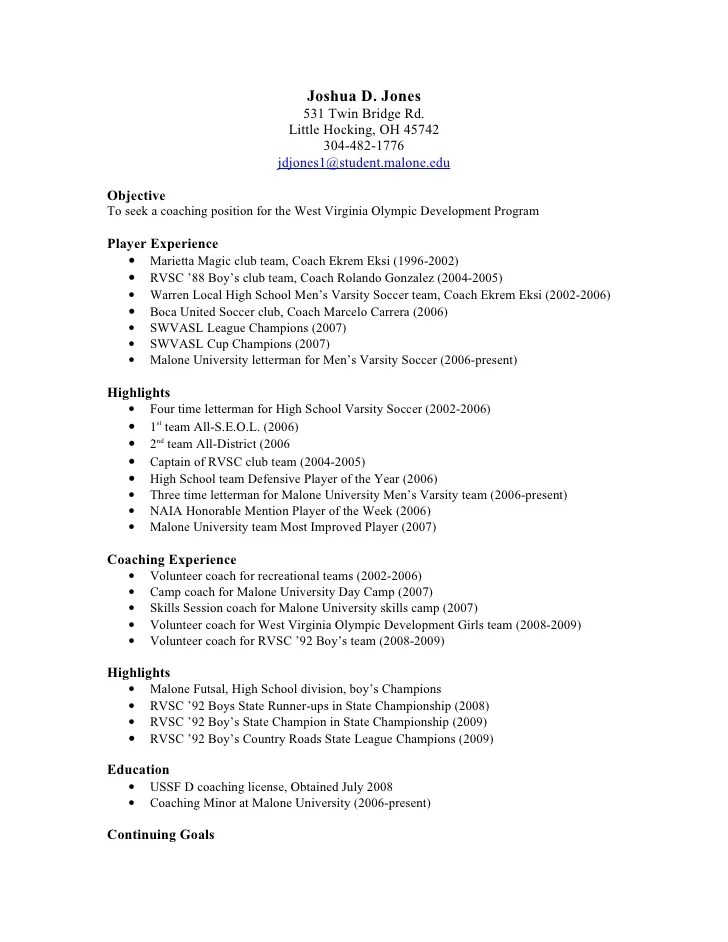 soccer resume for college template